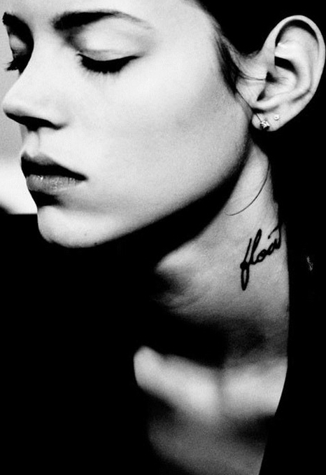 Freja Beha Erichsen - neck tattoo