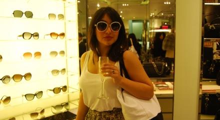 Me trying on Prada sunglasses in PRADA