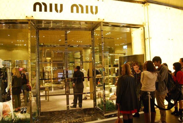 Line outside Miu Miu builds up